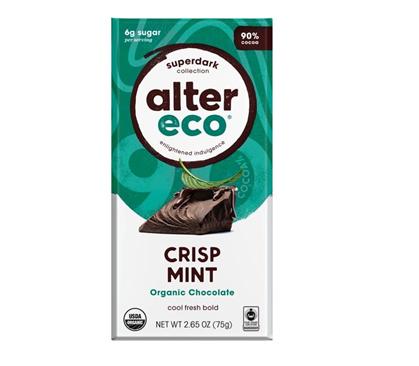 Alter Eco Vegan Organic Chocolate Dark Crisp Mint 75g