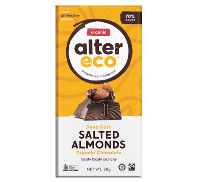 Alter Eco Vegan Organic Chocolate Dark Salted Almonds 80g