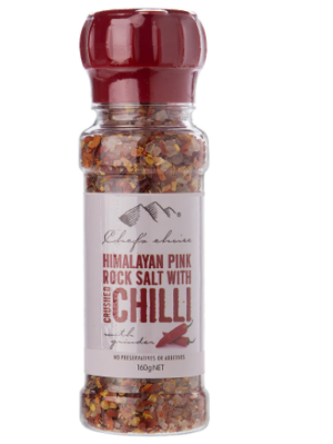 Chef's Choice Himalayan Pink Rock Salt With Chilli Grinder 160g