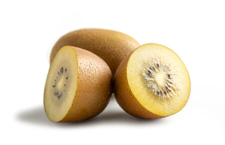 Yellow Kiwis Isolated From White Background, Summer Fruits