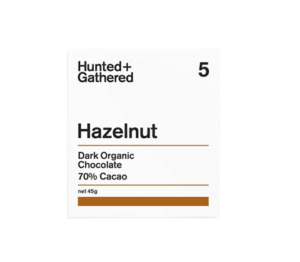 Hunter + Gathered Hazelnut 70% Dark Organic Chocolate 45g