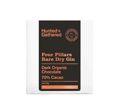 Hunter + Gathered Hazelnut Four Pillars 70% Dark Organic Chocolate 45g