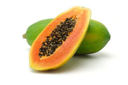 9766486 Half Cut And Whole Papaya Fruits On White Background