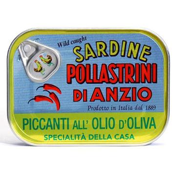 Pollastrini Sardine Tins Olive Oil & Chilli 100g